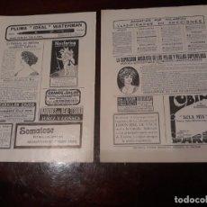Coleccionismo de Revistas y Periódicos: ANUNCIOS DE REVISTA DEL AÑO 1910 - DOS PAGINAS - 27 X 18 CM APROX . Lote 168359448