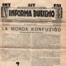 Coleccionismo de Revistas y Periódicos: INFORMA BULTENO - BOLETÍN INFORMATIVO - CNT - AIT - FAI - Nº 3 - EN ESPERANTO - 10 DE AGOSTO DE 1937. Lote 168827796