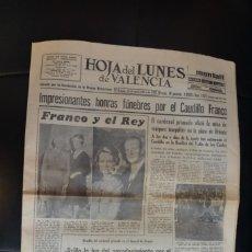 Coleccionismo de Revistas y Periódicos: PERIÓDICO HOJA DEL LUNES DEL VALENCIA DE 24 DE NOVIEMBRE DE 1975. Lote 168951468