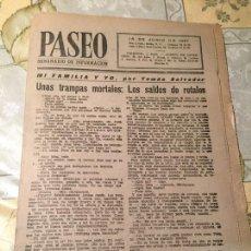 Coleccionismo de Revistas y Periódicos: ANTIGUA REVISTA PASEO SEMANARIO DE INFORMACIÓN 15 JUNIO AÑO 1957. Lote 169058980