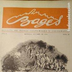 Coleccionismo de Revistas y Periódicos: REVISTA BAGES, MANRESA. NÚM. 20. PORTADA DIBUIX JOAN VILANOVA. Lote 169101728