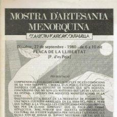 Coleccionismo de Revistas y Periódicos: MOSTRA D'ARTESANIA MENORQUINA. DICIEMBRE 1980. (MENORCA.3.4). Lote 169723392