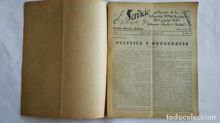 Coleccionismo de Revistas y Periódicos: REVISTA SERVICIO, Nº 14, PUBLICACION DE LA DELEGACION NACIONAL DE EDUCACION, F.E.T. Y DE LAS J.O.N.S - Foto 2 - 169738356