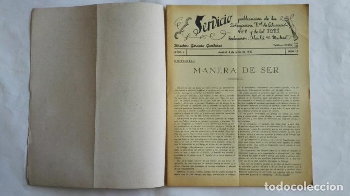 Coleccionismo de Revistas y Periódicos: REVISTA SERVICIO, Nº 15, PUBLICACION DE LA DELEGACION NACIONAL DE EDUCACION, F.E.T. Y DE LAS J.O.N.S - Foto 2 - 169738376