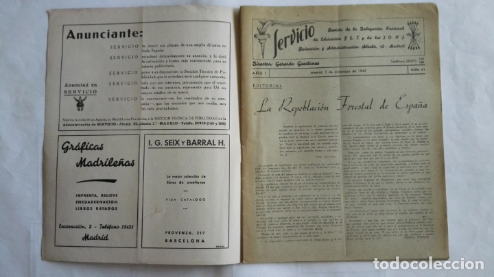 Coleccionismo de Revistas y Periódicos: REVISTA SERVICIO, Nº 41, PUBLICACION DE LA DELEGACION NACIONAL DE EDUCACION, F.E.T. Y DE LAS J.O.N.S - Foto 2 - 169738968