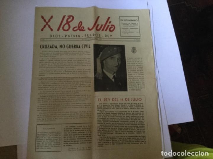 18 DE JULIO, PERIÓDICO CARLISTA (Coleccionismo - Revistas y Periódicos Modernos (a partir de 1.940) - Otros)