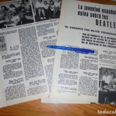 Collezionismo di Riviste e Giornali: RECORTE : LA JUVENTUD ESPAÑOLA OPINA SOBRE LOS BEATLES. SEMANA, SPTMBRE 1964 (). Lote 169866360