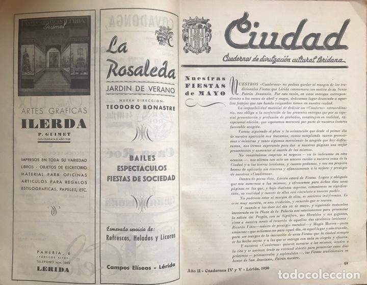 Coleccionismo de Revistas y Periódicos: REVISTA CULTURAL CIUDAD LERIDA 1950 LLEIDA FIESTAS MAYO SAN ANASTASIO FUTBOL U.E.LLEIDA CAMPEONES - Foto 2 - 170160446