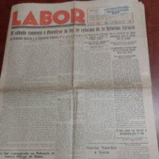 Collezionismo di Riviste e Giornali: PERIÓDICO LABOR, SORIA 1935 REPÚBLICA.. Lote 170289416