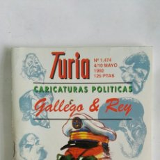 Coleccionismo de Revistas y Periódicos: CARTELERA TURIA N 1474 1992 CARICATURAS POLÍTICAS. Lote 170462938