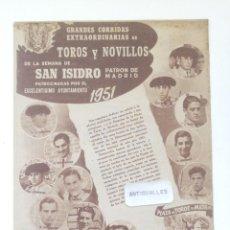 Coleccionismo de Revistas y Periódicos: PROGRAMA OFICIAL TOROS AÑO 1951-SAN ISIDRO-PLAZA TOROS MADRID-TAUROMAQUIA-TOROS-TORERO. Lote 170538368