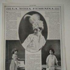 Coleccionismo de Revistas y Periódicos: HOJA REVISTA ORIGINAL 1915. LA MODA FEMENINA. Lote 171027175