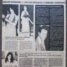 Collezionismo di Riviste e Giornali: RECORTE REVISTA SEMANA Nº 1894 1976 CECILIA, CONCHA VELASCO, VICENTE PARA. Lote 171038097