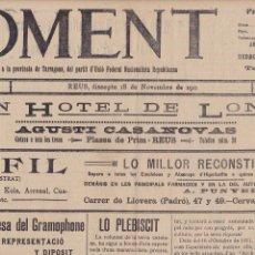 Coleccionismo de Revistas y Periódicos: FOMENT REUS 1911 GRAN HOTEL DE LONDRES Y LO PLEBISCIT . Lote 171161898