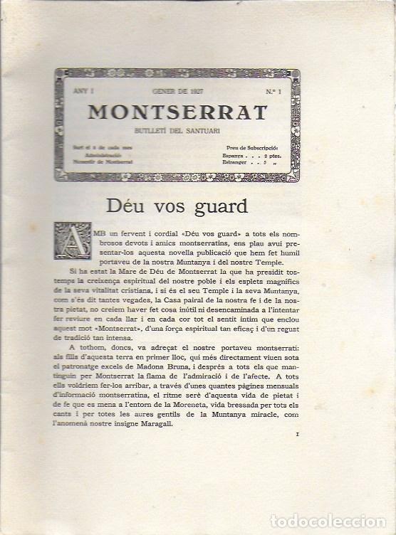 Coleccionismo de Revistas y Periódicos: Butlletí del Santuari de Montserrat. Any 1 núm. 1. Gener 1927. 26x19cm.16 p. Porta la butlleta per - Foto 2 - 171411628
