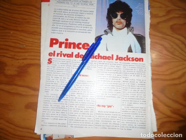 RECORTE : PRINCE, EL RIVAL DE MICHAEL JACKSON. TELE INDISCRETA, MARZO 1985 () (Coleccionismo - Revistas y Periódicos Modernos (a partir de 1.940) - Otros)