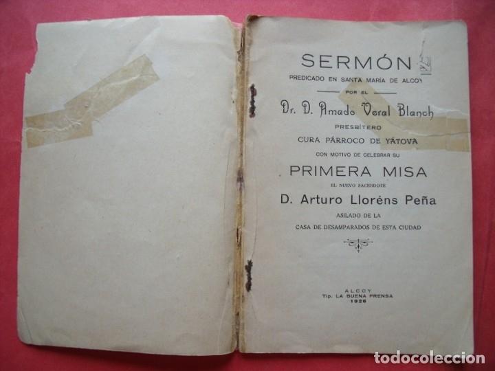 Coleccionismo de Revistas y Periódicos: AMADO VERAL BLANCH.-SERMON.-CURA PARROCO DE YATOVA.-ARTURO LLORENS PEÑA.-PRIMERA MISA.-ALCOY.-1926. - Foto 2 - 172016172