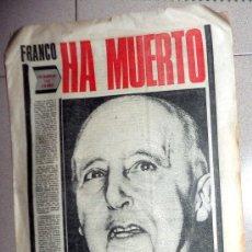 Coleccionismo de Revistas y Periódicos: DIARIO PERIÓDICO PUEBLO 20 NOVIEMBRE 1975 MUERTE DE FRANCO - PRIMERA EDICIÓN. Lote 172581253