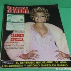 Coleccionismo de Revistas y Periódicos: REVISTA SEMANA Nº 1618 CARMEN SEVILLA ESPLENDIDA ESTRELLA DE 37 AÑOS-MARILYN MONROE-20 FEBR. 1971. Lote 172659625
