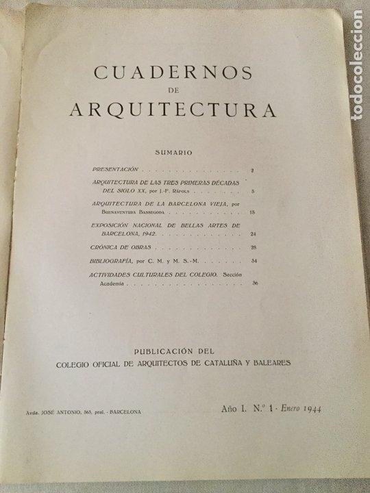 Coleccionismo de Revistas y Periódicos: 10 primeros números de Cuadernos de Arquitectura de Cataluña y Baleares. Enero 1944-Junio 1949. - Foto 2 - 172880894