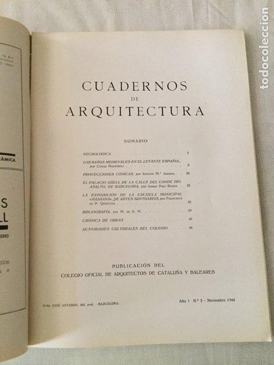 Coleccionismo de Revistas y Periódicos: 10 primeros números de Cuadernos de Arquitectura de Cataluña y Baleares. Enero 1944-Junio 1949. - Foto 3 - 172880894