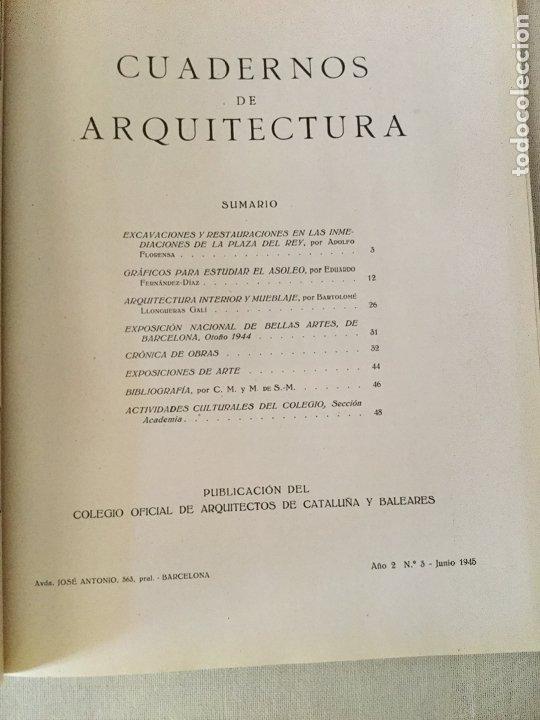 Coleccionismo de Revistas y Periódicos: 10 primeros números de Cuadernos de Arquitectura de Cataluña y Baleares. Enero 1944-Junio 1949. - Foto 4 - 172880894