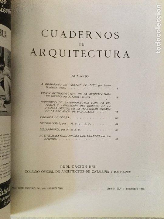 Coleccionismo de Revistas y Periódicos: 10 primeros números de Cuadernos de Arquitectura de Cataluña y Baleares. Enero 1944-Junio 1949. - Foto 5 - 172880894