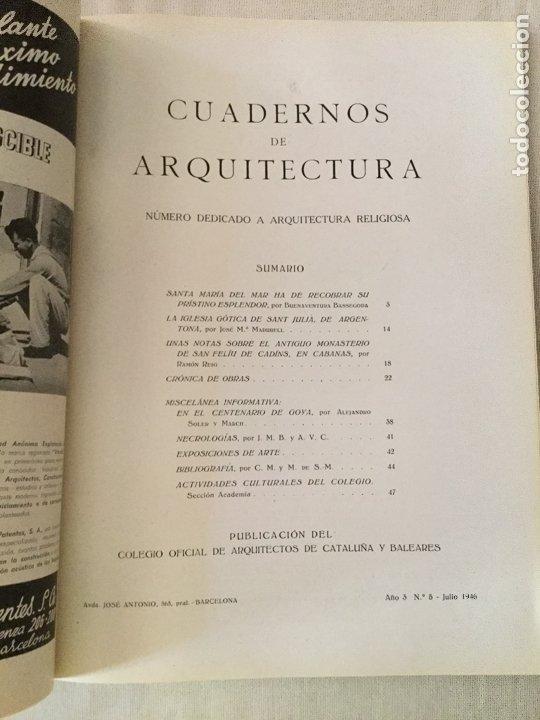 Coleccionismo de Revistas y Periódicos: 10 primeros números de Cuadernos de Arquitectura de Cataluña y Baleares. Enero 1944-Junio 1949. - Foto 6 - 172880894