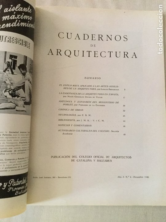 Coleccionismo de Revistas y Periódicos: 10 primeros números de Cuadernos de Arquitectura de Cataluña y Baleares. Enero 1944-Junio 1949. - Foto 7 - 172880894