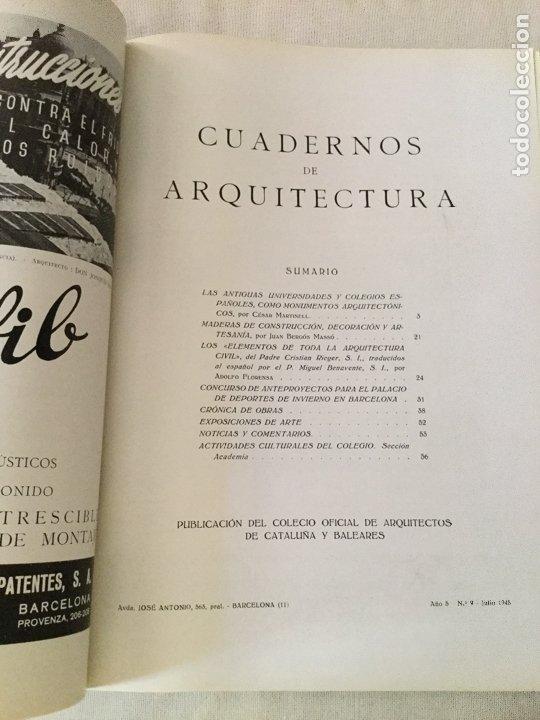 Coleccionismo de Revistas y Periódicos: 10 primeros números de Cuadernos de Arquitectura de Cataluña y Baleares. Enero 1944-Junio 1949. - Foto 10 - 172880894