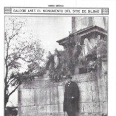 Coleccionismo de Revistas y Periódicos: 1916 HOJA REVISTA BILBAO CEMENTERIO DE MALLONA BENITO PÉREZ GALDÓS FRENTE MONUMENTO HÉROES DEL SITIO. Lote 173145758