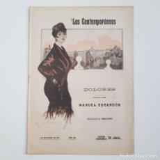 Coleccionismo de Revistas y Periódicos: DOLORES, MANUEL ESCANDÓN, COLEC. LITERARIA LOS CONTEMPORÁNEOS, Nº 358, 05-11-1915. Lote 173398612