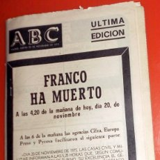 Coleccionismo de Revistas y Periódicos: DIARIO PERIÓDICO ABC 20 NOVIEMBRE 1975 MUERTE DE FRANCO - FRANCO HA MUERTO - ÚLTIMA EDICIÓN. Lote 173856232