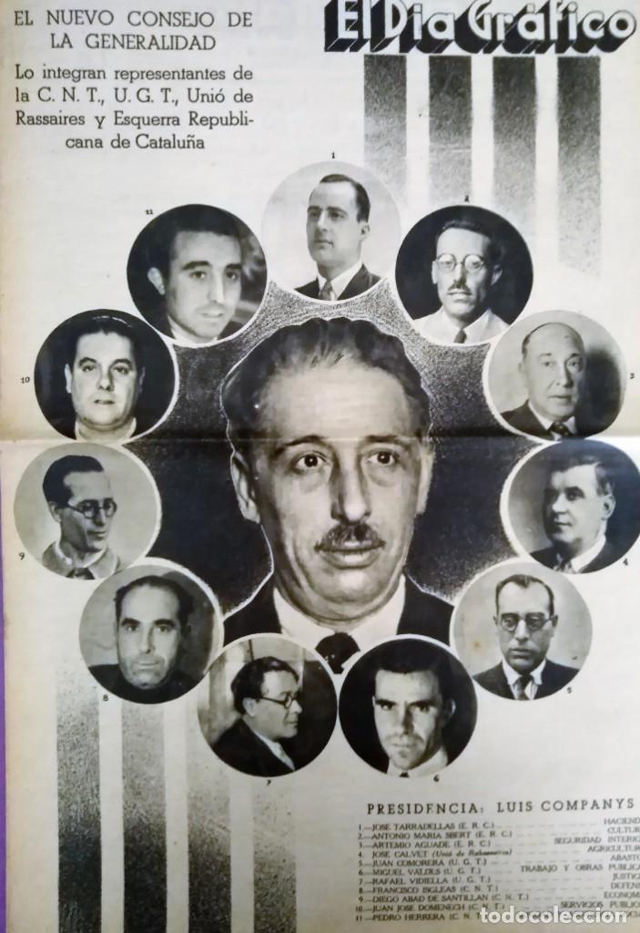 EL DIARIO GRAFICO 1936 EL NUEVO CONSEJO DE LA GENERALITA C.N.T.-UG.T. ESQUERRA (Coleccionismo - Revistas y Periódicos Antiguos (hasta 1.939))