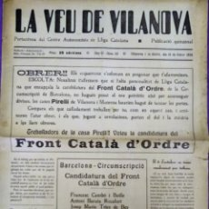 Coleccionismo de Revistas y Periódicos: LA VEU DE VILANOVA 1936 LIGA CATALANA 15 FEBRER OBRER...... Lote 173892899