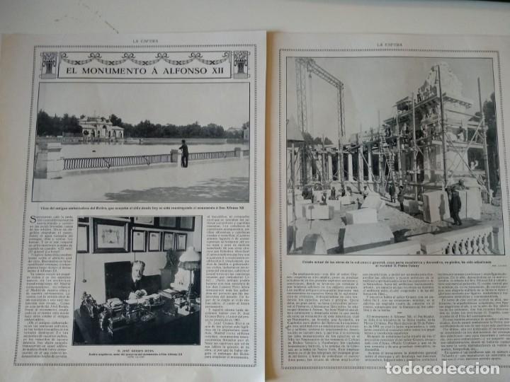 REPORTAJE REVISTA ORIGINAL 1914. EL MONUMENTO A ALFONSO XII, EL RETIRO, JOSE GRASES, ESCULTURAS (Coleccionismo - Revistas y Periódicos Antiguos (hasta 1.939))