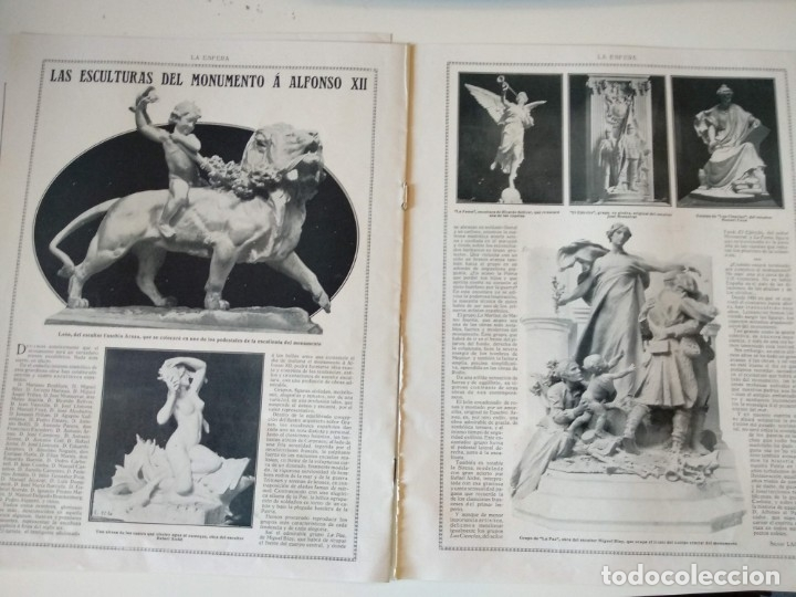 Coleccionismo de Revistas y Periódicos: REPORTAJE REVISTA ORIGINAL 1914. EL MONUMENTO A ALFONSO XII, EL RETIRO, JOSE GRASES, ESCULTURAS - Foto 3 - 174064328