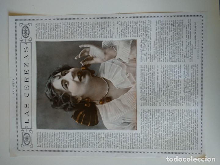 HOJA REVISTA ORIGINAL 1915. LAS CEREZAS, POR FEDERICO GARCIA SANCHIZ, FOTO CALVACHE (Coleccionismo - Revistas y Periódicos Antiguos (hasta 1.939))