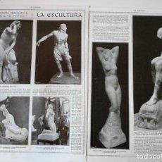 Coleccionismo de Revistas y Periódicos: REPORTAJE REVISTA ORIGINAL CIRCA 1915. EXPOSICION NACIONAL BELLAS ARTES, LA ESCULTURA. Lote 174072595