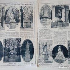 Coleccionismo de Revistas y Periódicos: REPORTAJE REVISTA ORIGINAL CIRCA 1915. COSAS DE PARIS, ESTATUAS DE MUJERES. Lote 174073457