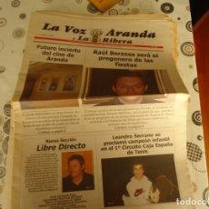 Coleccionismo de Revistas y Periódicos: LA VOZ DE ARANDA Y LA RIBERA, 11-7-2008. Lote 174263459