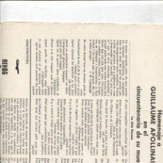Collectionnisme de Revues et Journaux: DIARIO LITERATURA EDICIONS 62/LUMEN/SEIX BARRAL: HOMENAJE A GUILLAUME APOLLINAIRE. Lote 174296925