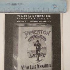 Coleccionismo de Revistas y Periódicos: PUBLICIDAD REVISTA ORIGINAL AÑOS 30. PIMENTON EL CORNETA VDA LUIS FERNANDEZ, PLASENCIA. Lote 174881869