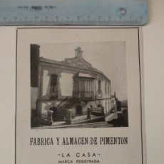 Coleccionismo de Revistas y Periódicos: PUBLICIDAD REVISTA ORIGINAL AÑOS 30. FABRICA PIMENTON LA CASA, FELIPE LOPEZ GARCIA, PLASENCIA. Lote 174882190