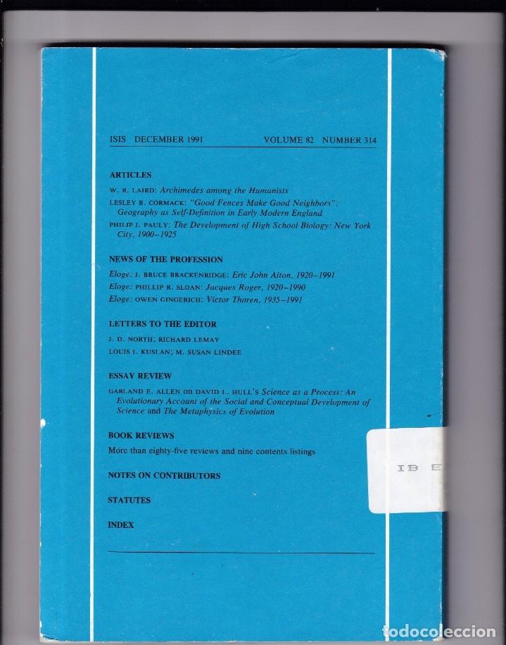 Coleccionismo de Revistas y Periódicos: ISIS - VOLUME 82 - NUMBER 314 / DECEMBER 1991 - A JOURNAL OF THE HISTORY OF SCIENCE SOCIETY - Foto 2 - 175014042