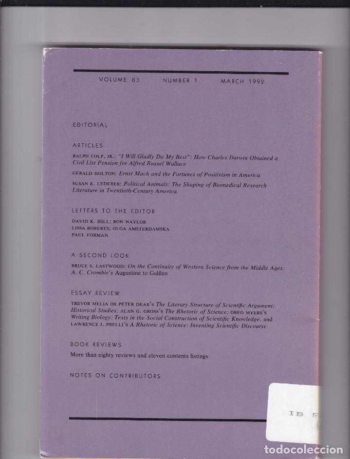Coleccionismo de Revistas y Periódicos: ISIS - VOLUME 83 - NUMBER 1 / MARCH 1992 - A JOURNAL OF THE HISTORY OF SCIENCE SOCIETY - Foto 2 - 175016844