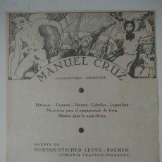 Coleccionismo de Revistas y Periódicos: HOJA PUBLICIDAD REVISTA ORIGINAL CIRCA 1938.MANUEL CRUZ CONSIGNATARIO EXPORTADOR,SANTA CRUZ TENERIFE. Lote 175113190