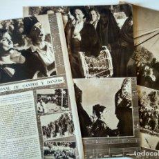 Coleccionismo de Revistas y Periódicos: REPORTAJE REVISTA ORIGINAL CIRCA 1939. PRIMER CONCURSO NACIONAL DE CANTOS Y DANZAS EN ESPAÑA. Lote 176050800
