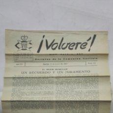 Coleccionismo de Revistas y Periódicos: VOLVERE, DIOS, PATRIA, REY - PORTAVOZ DE LA COMUNION CARLISTA, Nº 121 - MARZO 1954. Lote 176076048