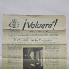 Coleccionismo de Revistas y Periódicos: VOLVERE, DIOS, PATRIA, REY - PORTAVOZ DE LA COMUNION CARLISTA, Nº 119 - FEBRERO 1954. Lote 176076610